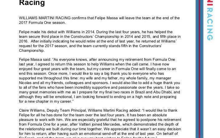 F1: Williams posta nota de agradecimento após Massa anunciar aposentadoria