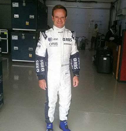 """F1: Barrichello """"veste-se"""" de Williams pela primeira vez"""