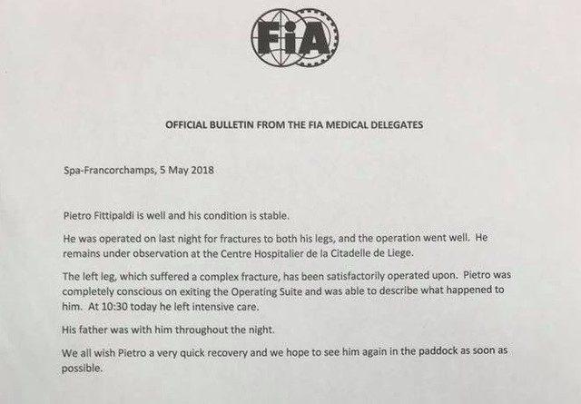 Pietro Fittipaldi deixa UTI e tem previsão de dois meses de recuperação