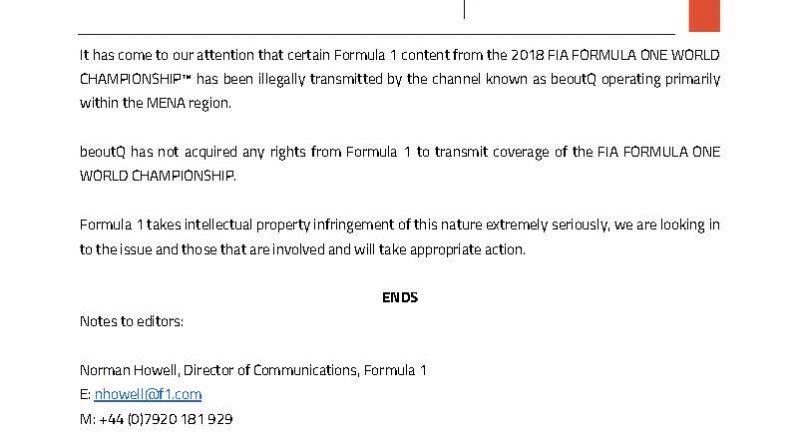 Fórmula 1 acusa TV árabe BeoutQ de pirataria