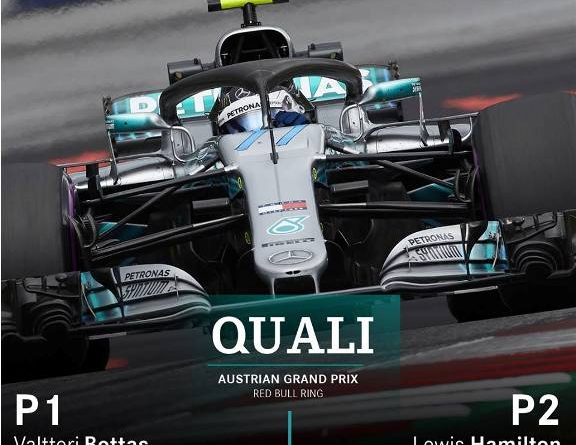 F1: Valtteri Bottas marca a pole para GP da Áustria