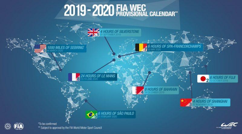 WEC: FIA divulga o calendário provisório 2019-2020; Interlagos receberá a 5ª etapa