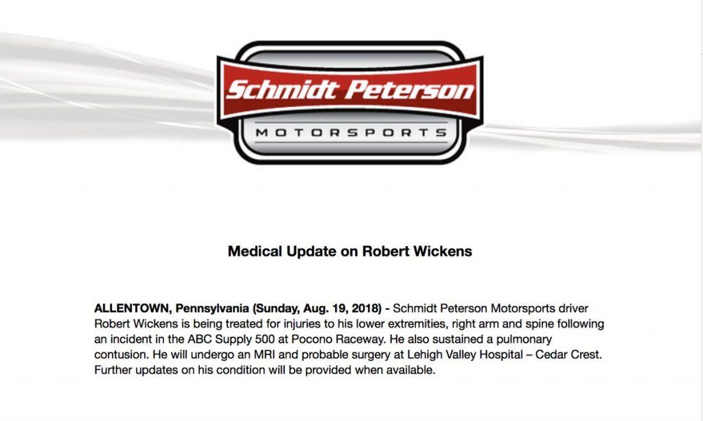 IndyCar: Em grave acidente, Robert Wickens sofreu múltiplas fraturas